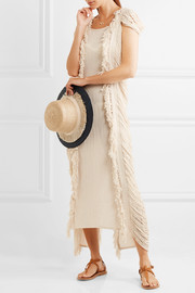Xtabentun fringed cotton-gauze maxi dress