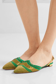 Marrakech embellished suede point-toe flats
