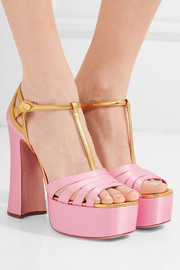 Metallic leather-trimmed satin platform sandals