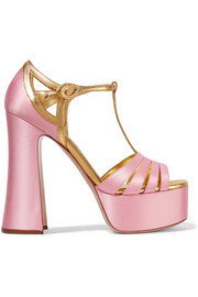 Miu Miu Metallic leather-trimmed satin platform sandals