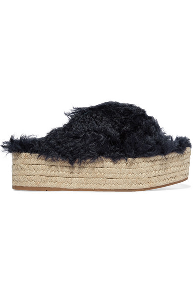 Faux shearling espadrille platform sandals