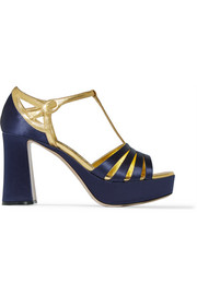 Satin and metallic leather platform sandals