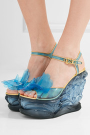 Leather-trimmed appliquéd PVC and Plexiglas wedge sandals