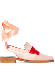 Two-tone satin loafers