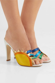 Sun leather and satin mules