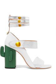 Cactus Heel Perspex-trimmed metallic leather sandals