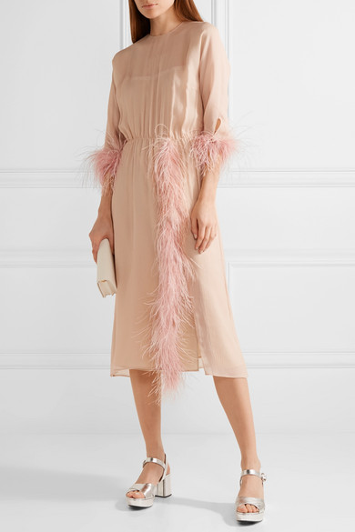 2e8d09f8 Prada | Feather-trimmed silk-georgette dress | NET-A-PORTER.COM