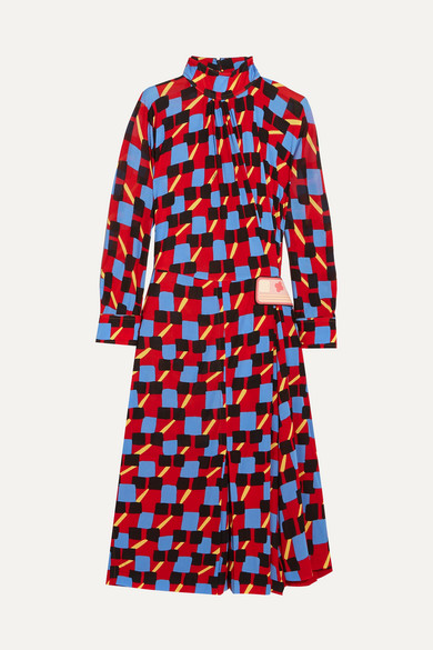 Prada - Gathered Printed Georgette Dress - IT40