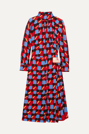 Prada Gathered printed georgette dress