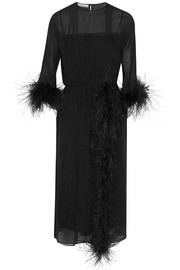 Prada Feather-trimmed silk-georgette midi dress