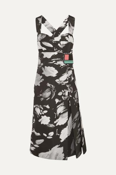 Prada - Wrap-effect Printed Satin-twill Dress - Black