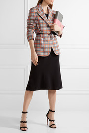 Checked jacquard-knit blazer