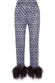 Prada Feather-trimmed printed crepe de chine straight-leg pants
