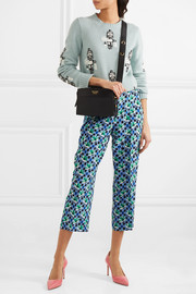 Cropped printed silk crepe de chine straight-leg pants