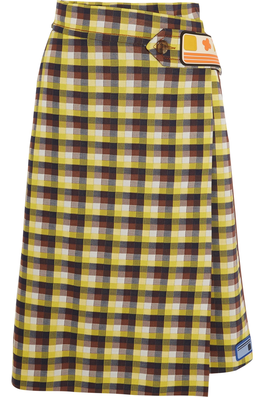 Prada Checked  jacquard-knit wrap skirt