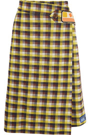 Checked  jacquard-knit wrap skirt