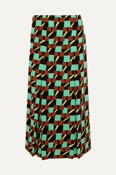 Prada - Printed Silk Crepe De Chine Wrap Skirt - Turquoise