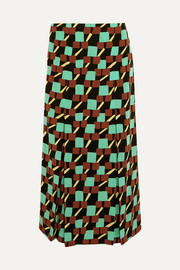 Prada Printed silk crepe de chine wrap skirt