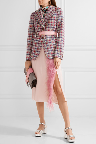 Feather-trimmed silk-georgette midi skirt