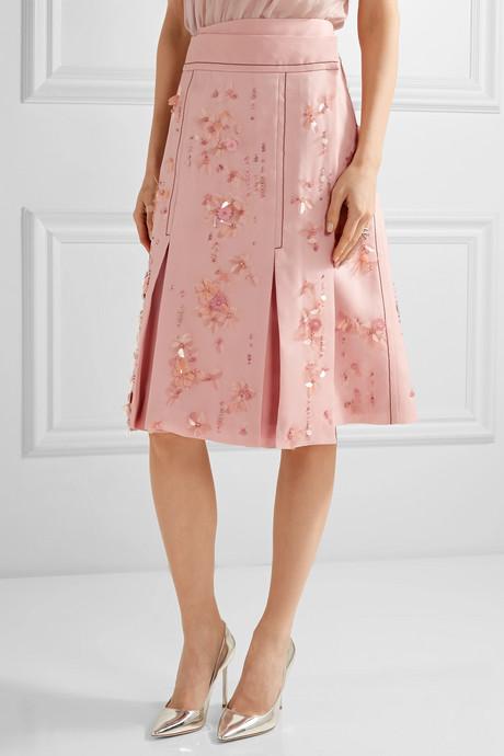 Embellished pleated silk-crepe wrap skirt