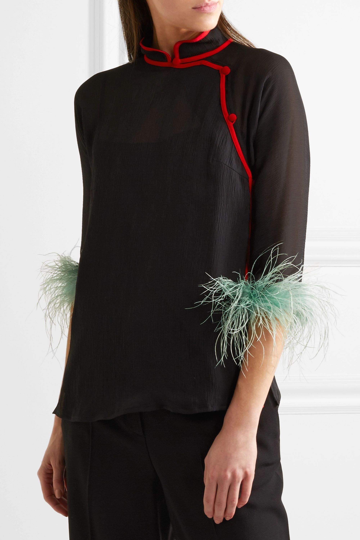 Prada Feather-trimmed silk-chiffon blouse