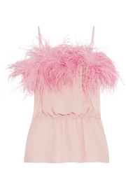Prada Feather-trimmed crinkled silk-chiffon camisole