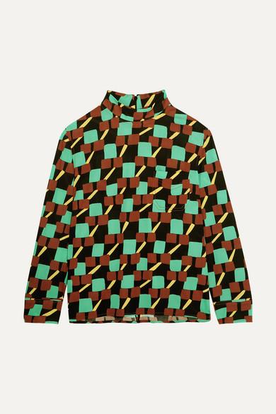Prada - Printed Crepe Turtleneck Top - Green
