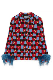 Prada Feather-trimmed printed crepe de chine shirt