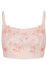 Prada Cropped appliquéd silk-gazar top