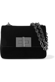 Natalia small velvet shoulder bag