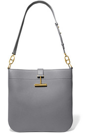 T Clasp textured-leather shoulder bag