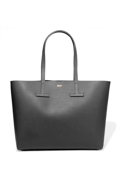 tom ford female tom ford t small texturedleather tote dark gray