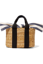 Muun Cabana mini straw and striped cotton-canvas tote