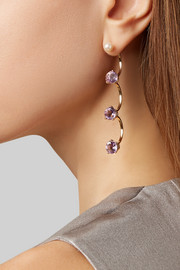 18-karat gold, amethyst and pearl earring