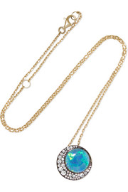 Eclipse 18-karat gold, opal and diamond necklace