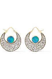 Chandbali 18-karat gold, opal and diamond earrings