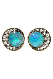Eclipse 18-karat gold, opal and diamond earrings