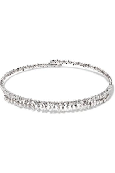 Suzanne Kalan 18-karat White Gold Diamond Choker Z0ZlvlR5i