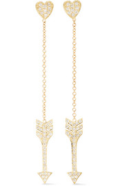 Jennifer Meyer Heart & Mini Arrow 18-karat gold diamond earrings