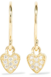Mini Heart 18-karat gold diamond earrings
