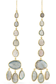 Pippa Small 18-karat gold labradorite earrings