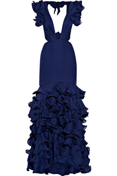 Johanna Ortiz - El Encanto Cutout Ruffled Silk-chiffon Gown - Royal blue