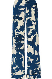 Orinoco printed silk crepe de chine wide-leg pants