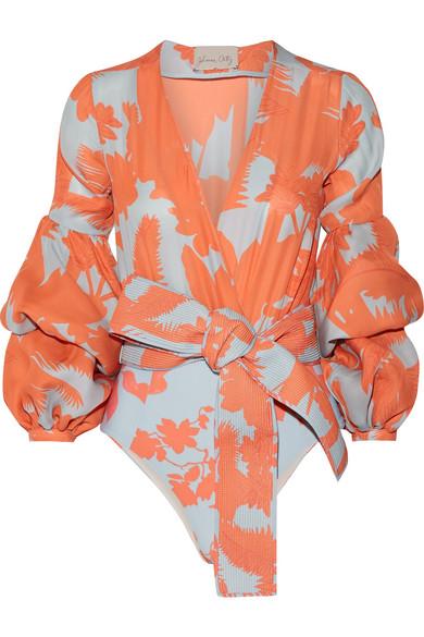Johanna Ortiz - Pintada Ruffled Printed Stretch Silk-blend Bodysuit - Coral