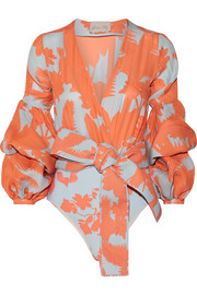 Pintada ruffled printed stretch silk-blend bodysuit