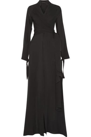 Juan Carlos Obando - Wrap-effect Silk-chiffon Gown - Black
