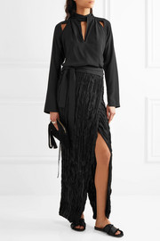 Wrap-effect crinkled plissé-silk maxi skirt
