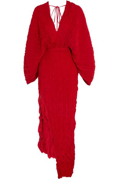 Juan Carlos Obando - Crinkled Plissé-silk Maxi Dress - Red