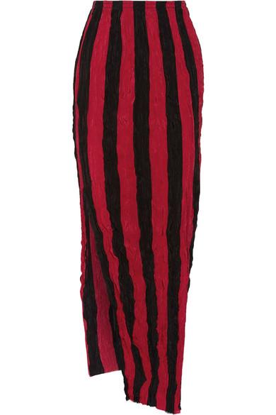 Juan Carlos Obando - Striped Crinkled Silk Crepe De Chine Maxi Skirt - Red