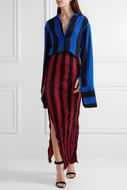 Striped crinkled silk crepe de chine maxi skirt
